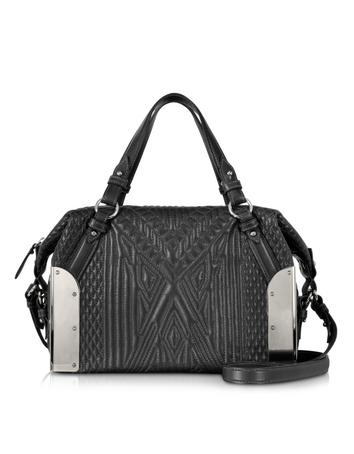 Black Quilted Leather Small Satchel