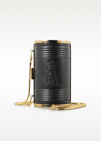 Black Leather and Metal Can Clutch - Jean Paul Gaultier