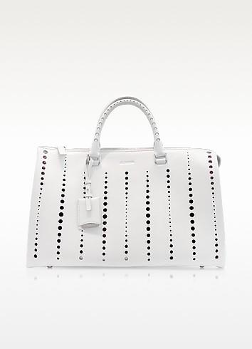 Large Jil Bag Open White Perforated Leather Satchel - Jil Sander