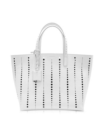 Large Ibiza Open White Perforated Leather Tote