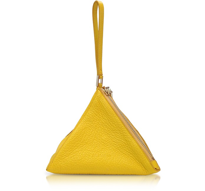 Yellow Grained Leather 3Angle Clutch - Jil Sander