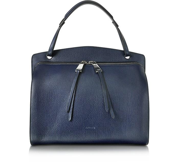 Blunt Open Blue Cross Printed Leather Medium Handbag - Jil Sander