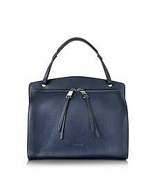 Blunt Open Blue Cross Printed Leather Medium Handbag - Jil Sander