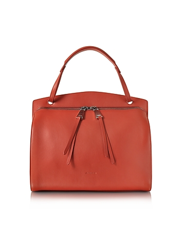 Jil Sander - Blunt Open Red Soft Leather Medium Handbag