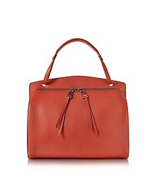 Blunt Open Red Soft Leather Medium Handbag - Jil Sander