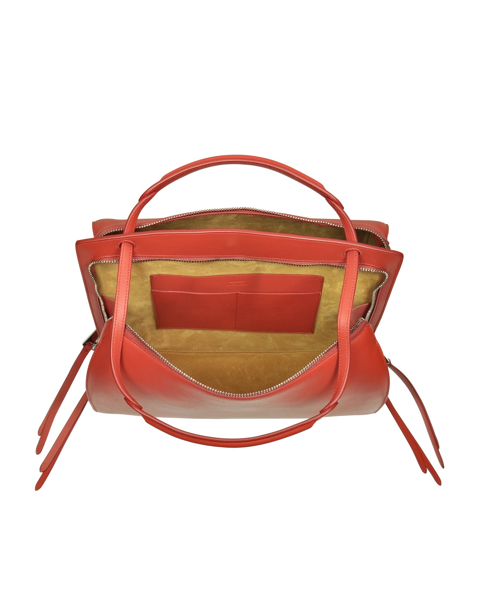 Blunt Open Red Soft Leather Medium Handbag от Forzieri INT