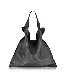 Xiao Black Leather Medium Tote - Jil Sander