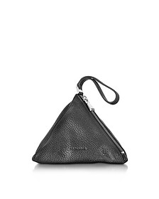 3Angle Black Leather Pouch - Jil Sander