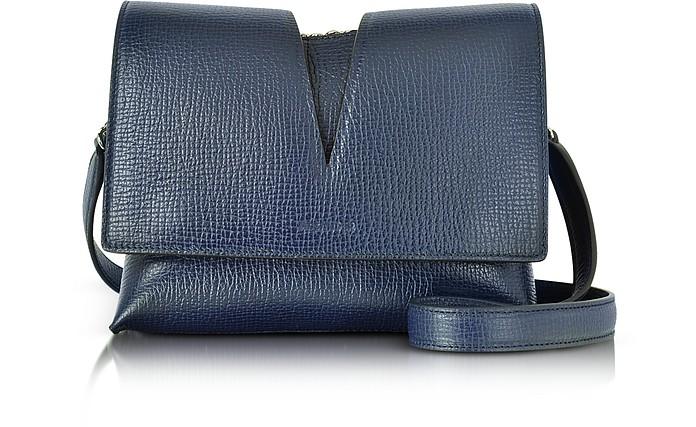 View Open Blue Cross Printed Leather Small Shoulder Bag - Jil Sander