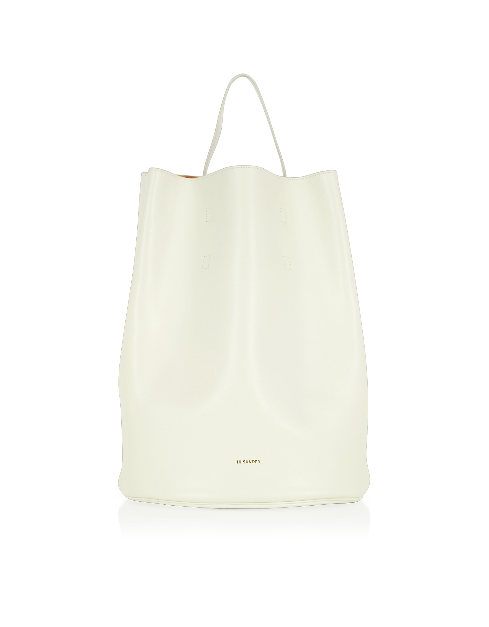 Jil Sander Handbags, Open White Leather Bucket Bag