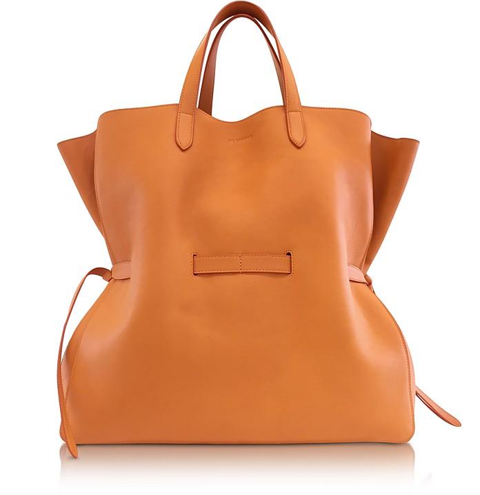 Open Orange Leather Lace Shopper - Jil Sander