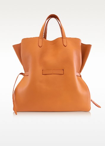 Open Orange Leather Lace Shopper - Jil Sander