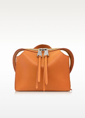 Open Orange Leather Small Clover Handbag - Jil Sander