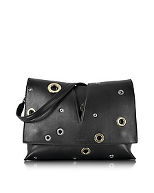 View Black Leather Medium Shoulder Bag w/Grommet Detail - Jil Sander