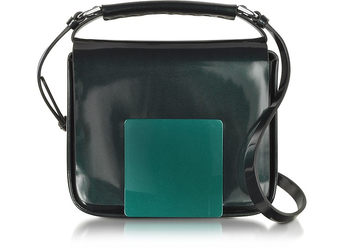 Dark Green/Aubergine Iridescent Lady J Crossbody Clutch - Jil Sander