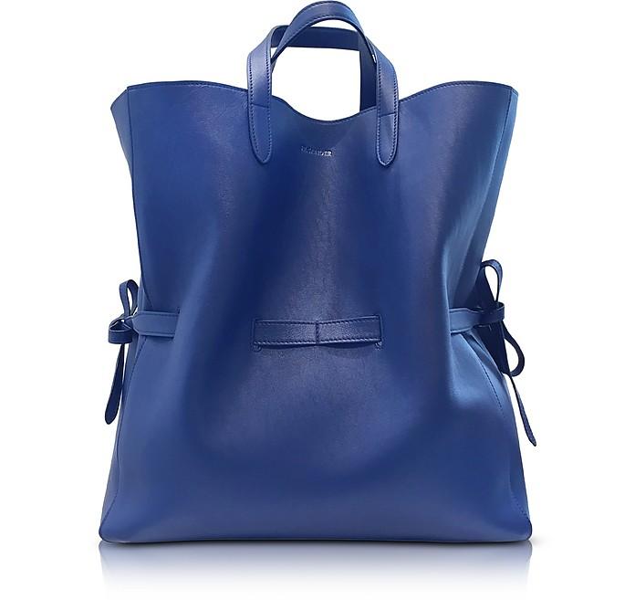 Open Blue Leather Lace Shopper - Jil Sander