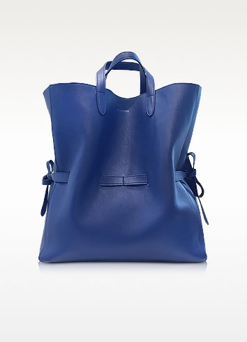 Open Blue Leather Lace Shopper - Jil Sander