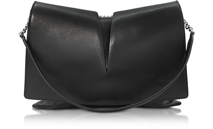 View Medium Black and Nude Leather Shoulder Bag - Jil Sander