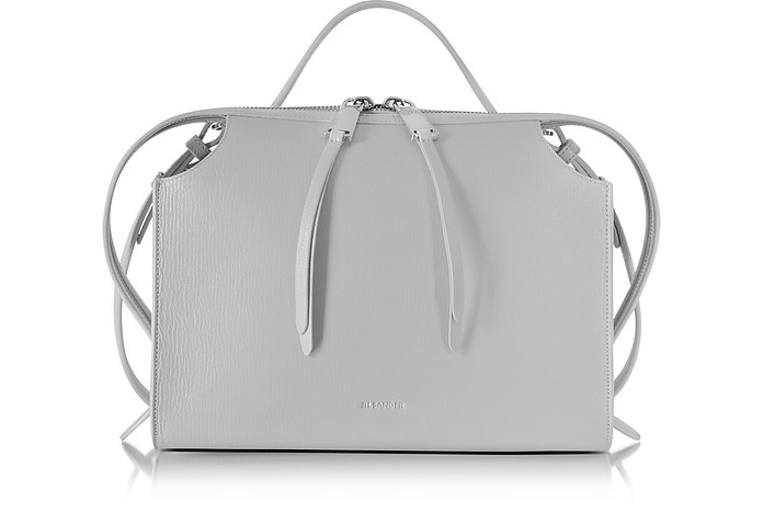 Light Pastel Gray Small Clover Leather Satchel Bag - Jil Sander