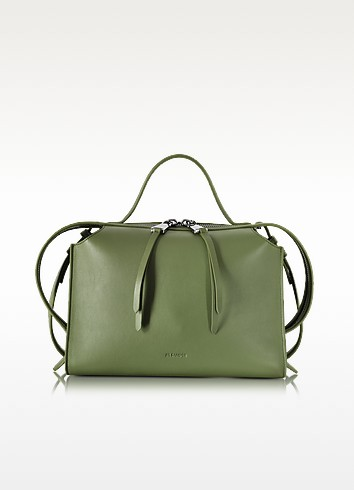Bright Green Small Clover Leather Satchel Bag - Jil Sander