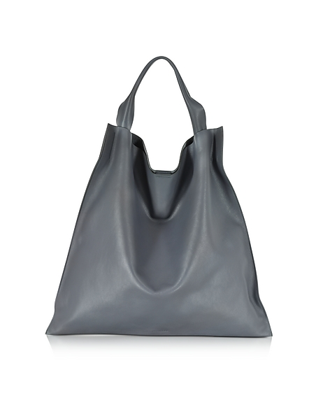 Foto Jil Sander Medium Xiao Bag Shopper in Pelle Antracite Borse donna