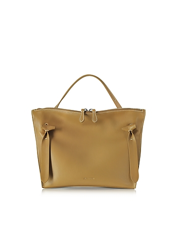 Dark Yellow Small Leather Hill Satchel Bag