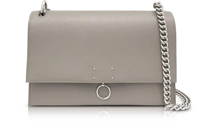 Open Beige Leather Medium Ring Shoulder Bag - Jil Sander