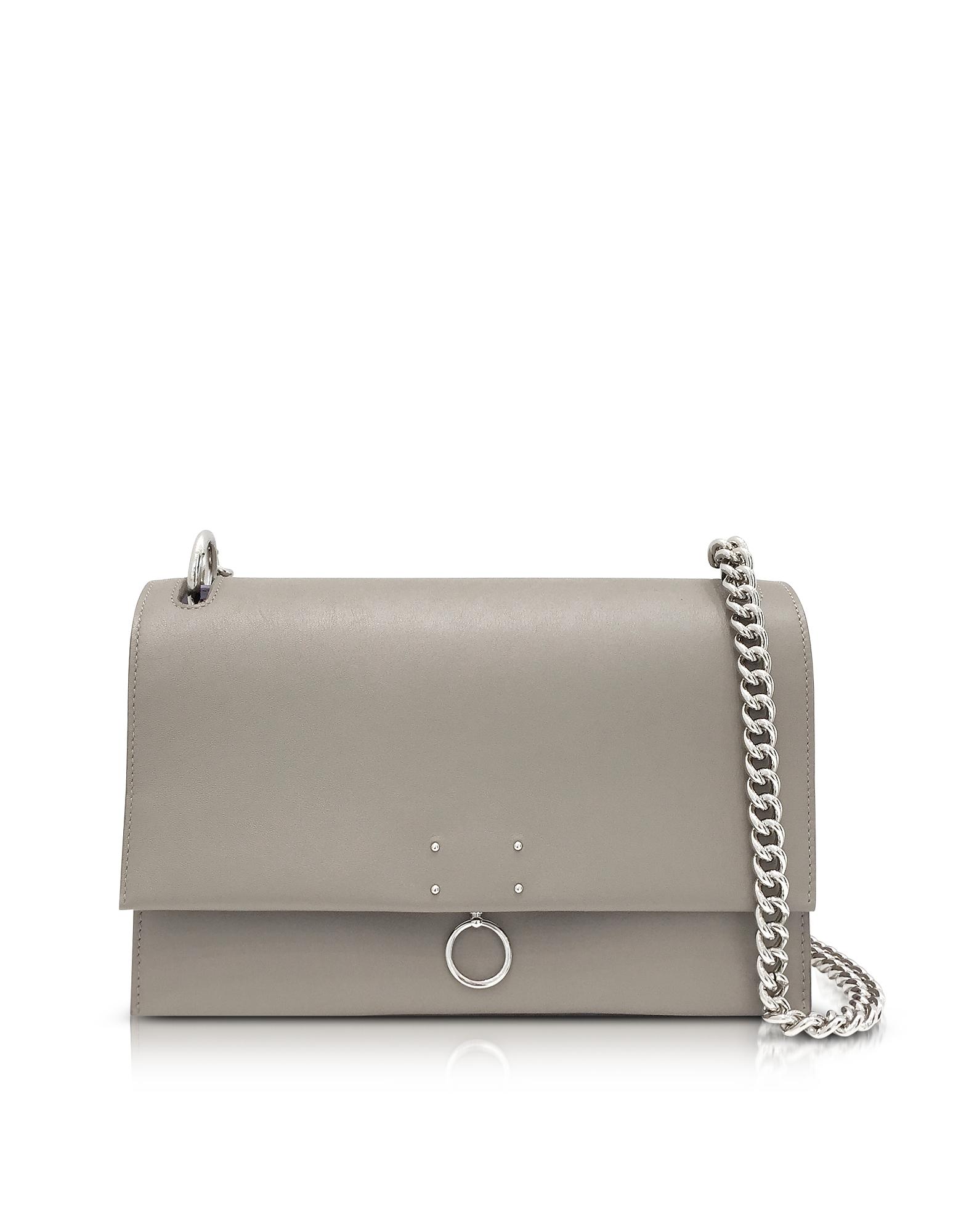 Jil Sander Handbags, Open Beige Leather Medium Ring Shoulder Bag