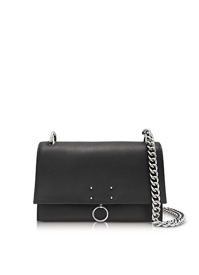 Black Leather Small Ring Shoulder Bag - Jil Sander