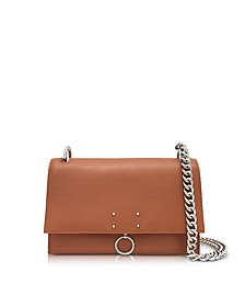 Open Brown Leather Small Ring Shoulder Bag - Jil Sander
