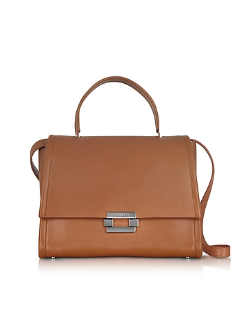 Open Brown leather Refold Top Handle Satchel Bag