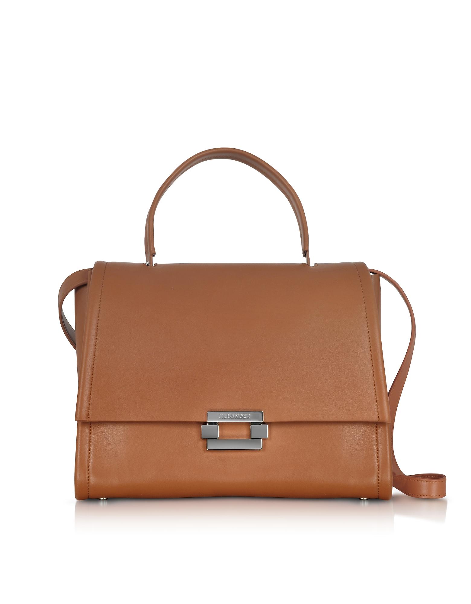 Jil Sander Handbags, Open Brown leather Refold Top Handle Satchel Bag