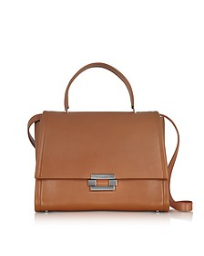 Open Brown leather Refold Top Handle Satchel Bag - Jil Sander