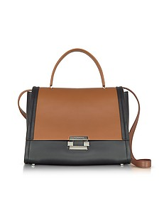 Color Block Leather Refold Top Handle Satchel Bag - Jil Sander