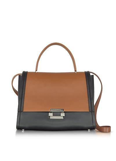 Color Block Leather Refold Top Handle Satchel Bag - Jil Sander