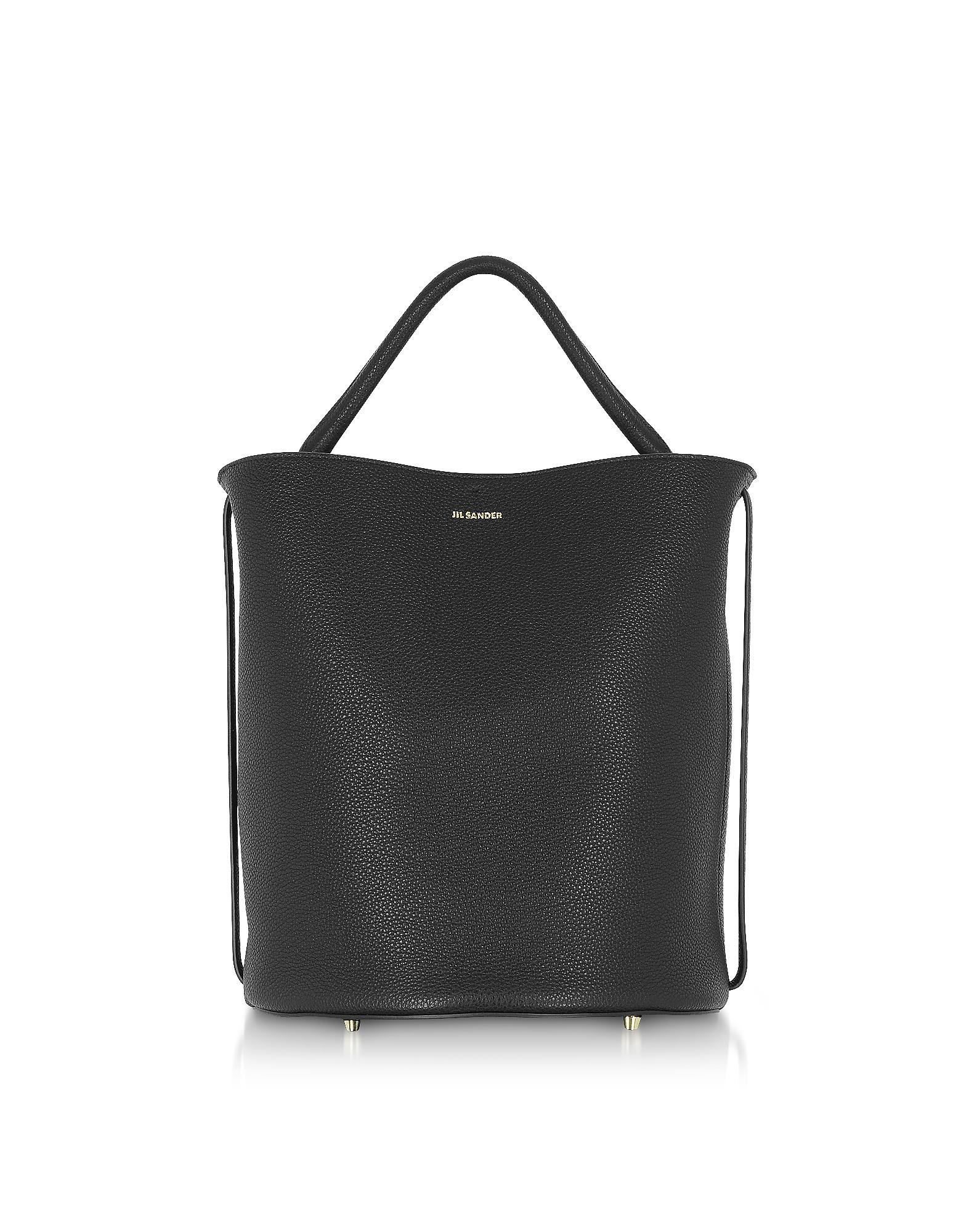 Image of Jil Sander Designer Handbags, Black Large Leather Bucket Bag