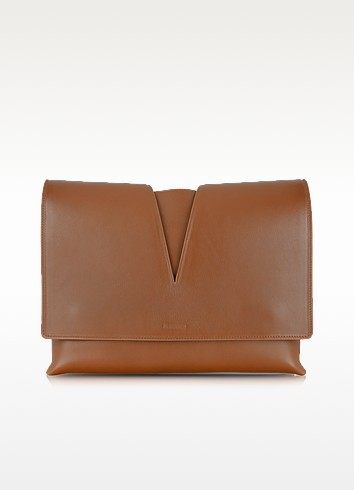 View Medium Brown Leather Shoulder Bag - Jil Sander