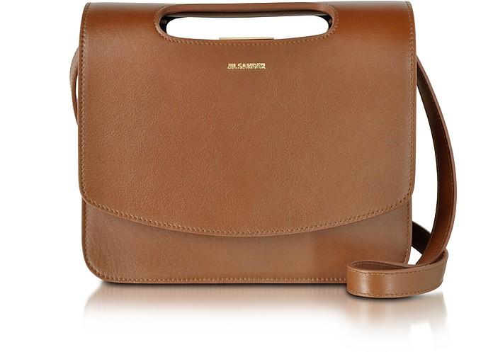 Brown Leather Frame Crossbody Bag - Jil Sander
