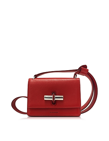 Lock Open Red Leather Small Shoulder Bag