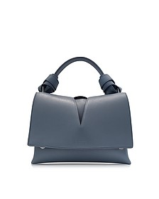 View Handle w/Knot Open Blue Leather Bag - Jil Sander