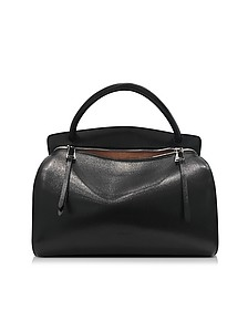 Blunt Black Leather Medium Handbag - Jil Sander