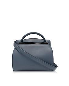 Blunt Open Blue Leather Small Bag - Jil Sander