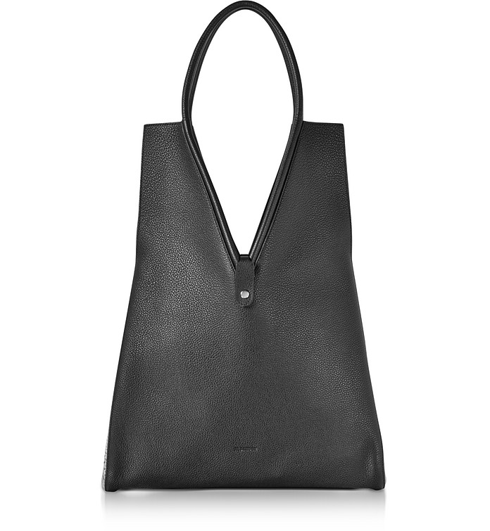 Jil Sander Penta Grained Leather Tote Bag In Nero