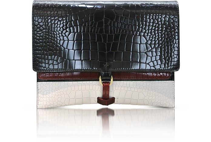 Nabia Color-Block Embossed Leather Clutch - Jil Sander