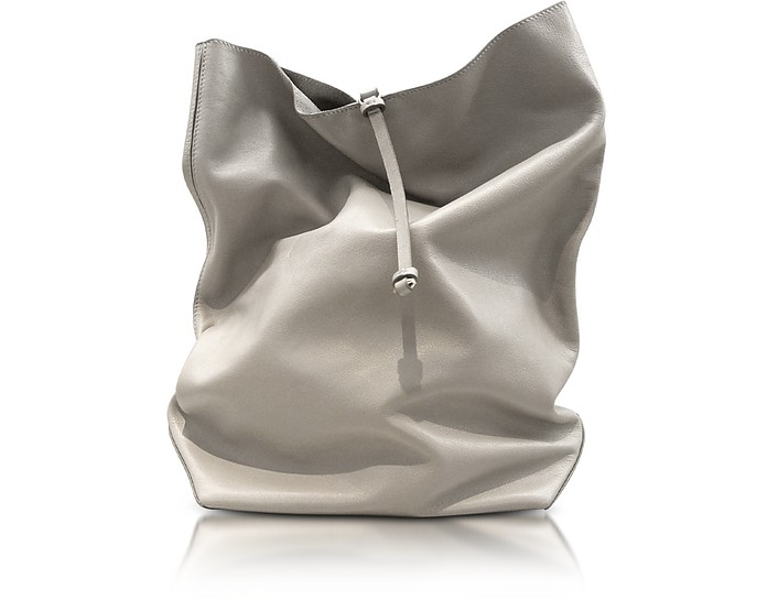 Nuzzi - Light Gray Nappa Leather Lunch Bag Clutch - Jil Sander