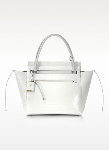 New Malavoglia - White Embossed Leather Satchel - Jil Sander
