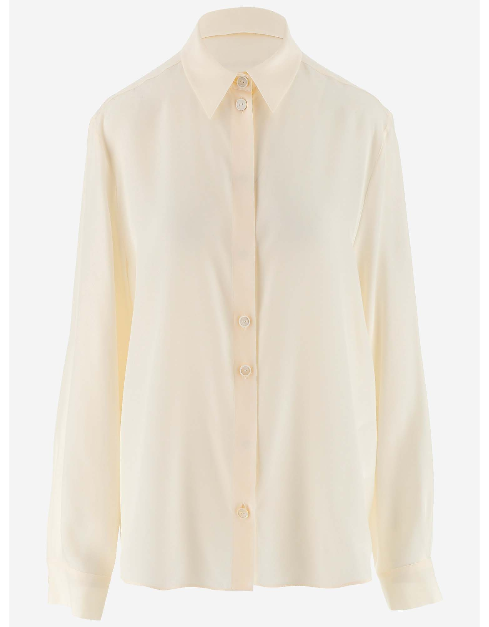 Jil Sander Designer Shirts, Powder Pink Silk Women's Shirt