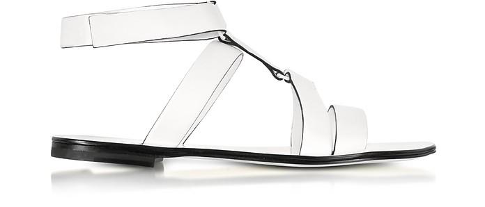 White Leather Flat Sandal - Jil Sander