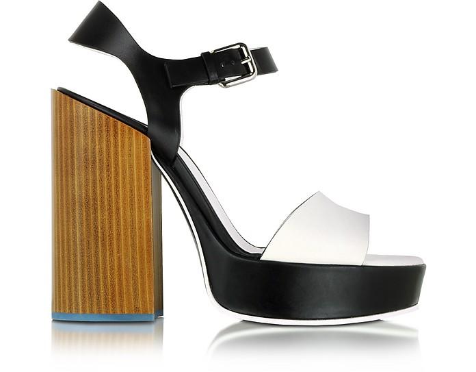 Black & White Leather Platform Sandal  - Jil Sander