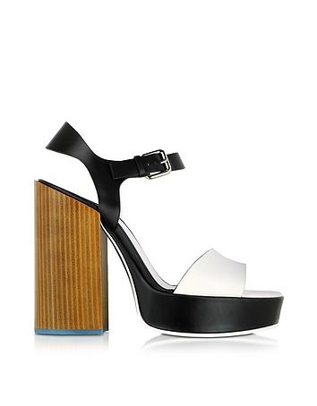 Black & White Leather Platform Sandal